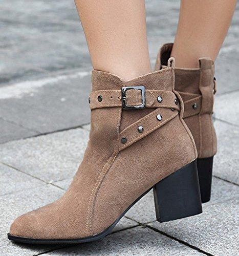 Idifu Kvinna Vintage Dubbade Bucklig Faux Mocka Mitten Klossklackar Kort Boots Aprikos