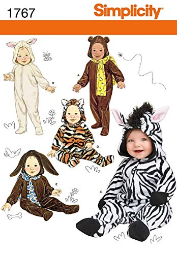 Simplicity 1767 Size A (1/2-1-2-3-4) Toddler's Animal Costumes and Hats Sewing Pattern, Size A (XS-S-M-L)]()