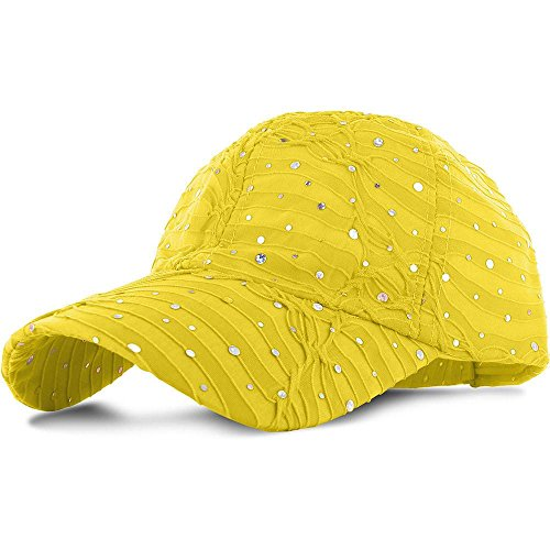 Easy-W Yellow_100% Polyester Glitter Baseball Cap Golf Hat Rhinestone by Easy-W