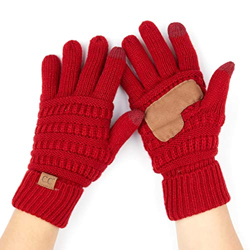 Hatsandscarf CC Exclusives Women Solid Ribbed Glove with Smart Tips (G-20) (RED) ()