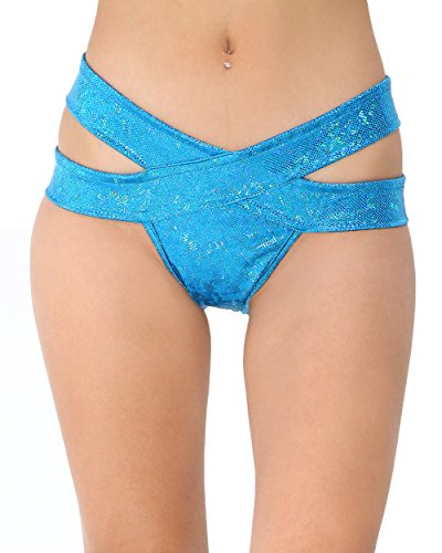 iHeartRaves Hologram Strappy Rave Booty Shorts (Medium/Large, Turquoise) (Sassy Dance Costumes)