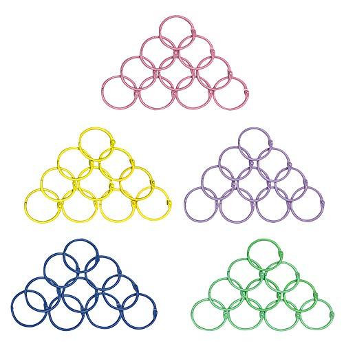 50 PCS Multi Color Metal Loose Paper Leaf Binder Rings Notebook Book Rings Keychains Keyrings (Binder Rings Colored)