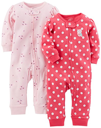 Simple Joys by Carter's Girls' 2-Pack Cotton Footless Sleep and Play, Pink Dragonfly/Dot, 0-3 Months