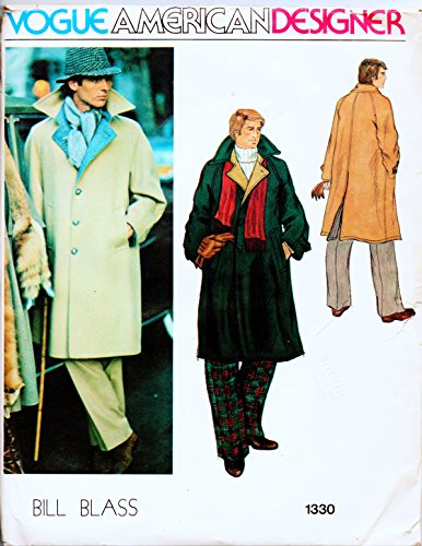 Vogue American Designer Bill Blass1330 Men's Long Coat Vintage Sewing Pattern Check Offers for ()