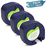 3-Pack LetraTag Refills Self-Adhesive Paper Tape Compatible with DYMO LetraTag Label Makers, Black Print on White, 1/2 Inch x 13 feet, 12mm x 4m