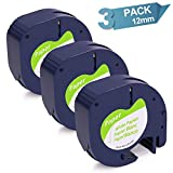 12Mm Label Printer - 3-Pack Replace DYMO LetraTag Labeling Refills Self-Adhesive Paper Tape Compatible with DYMO LetraTag Label Makers, Black Print on White, 1/2 Inch x 13 feet, 12mm x 4m