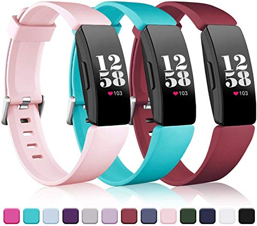 Wepro Bands Replacement Compatible with Fitbit Inspire HR/Inspire/Inspire 2/Ace 2 Fitness Tracker for Women Men, 3-Pack…