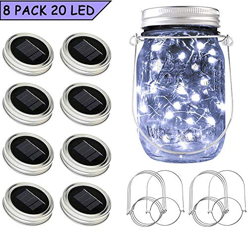(SunKite Solar Mason Jar Lights, 8 Pack 20 LED Waterproof Fairy Firefly Jar Lids String Lights with Hangers(NO Jars), Patio Yard Garden Wedding Easter Decoration - Cool)