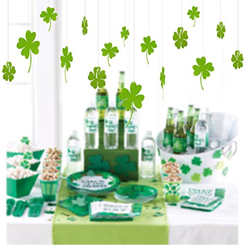St. Patricks Day Decorations | Green Hanging Shamrock Ornaments | 4 Leaf Clover Hanging Decor| Indoor Outdoor Lawn Decorations | 30 Pcs