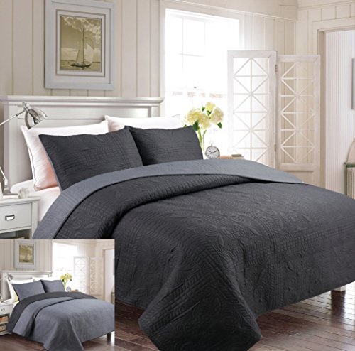 Fancy Collection 3pc Luxury Bedspread Coverlet Embossed Bed Cover Solid Reversible Charcoal / Grey Over Size New King/California King 118″ X 106″