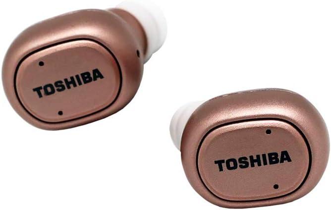 Toshiba - Auriculares de Diadema inalámbricos con Bluetooth y Caja de Potencia, Color Rosa
