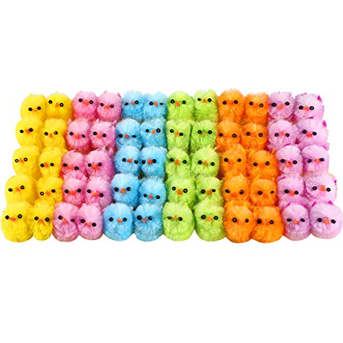 60 Pieces Easter Mini Chicks Multi-Colored Artificial Fluffy Chicken Easter Chick for Easter Party Favors Baskets Decor, 1.2 inch
