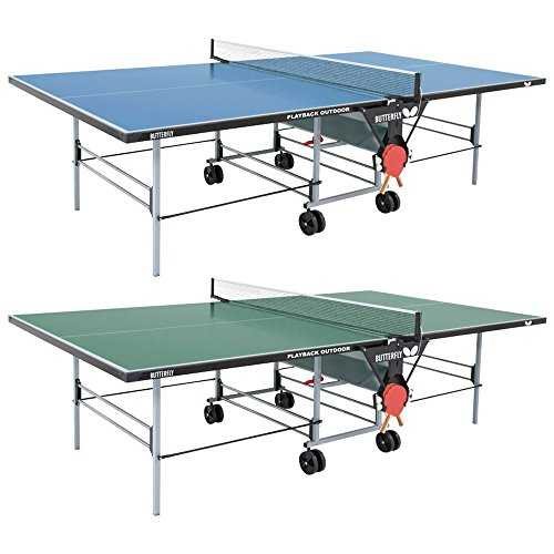 Butterfly Playback Rollaway Outdoor Ping Pong Table | Rolling Outdoor Table Tennis Table | Weatherproof Ping Pong Net | 10 Year Warranty | Outdoor Butterfly Ping Pong Tables