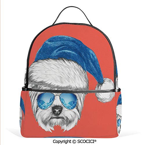 Lightweight Chic Bookbag Terrier with a Blue Santa Hat and Mirror Aviator Glasses Fun Hand Drawn Animal Decorative,Coral White Blue,Satchel Travel Bag Daypack