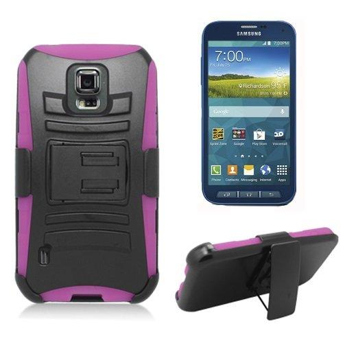 [SlickGearsTM] Black Heavy Duty Combat Armor Kickstand Belt Holster Case for Samsung Galaxy S5 Sport G860 SM-G860 Sprint (Pink)