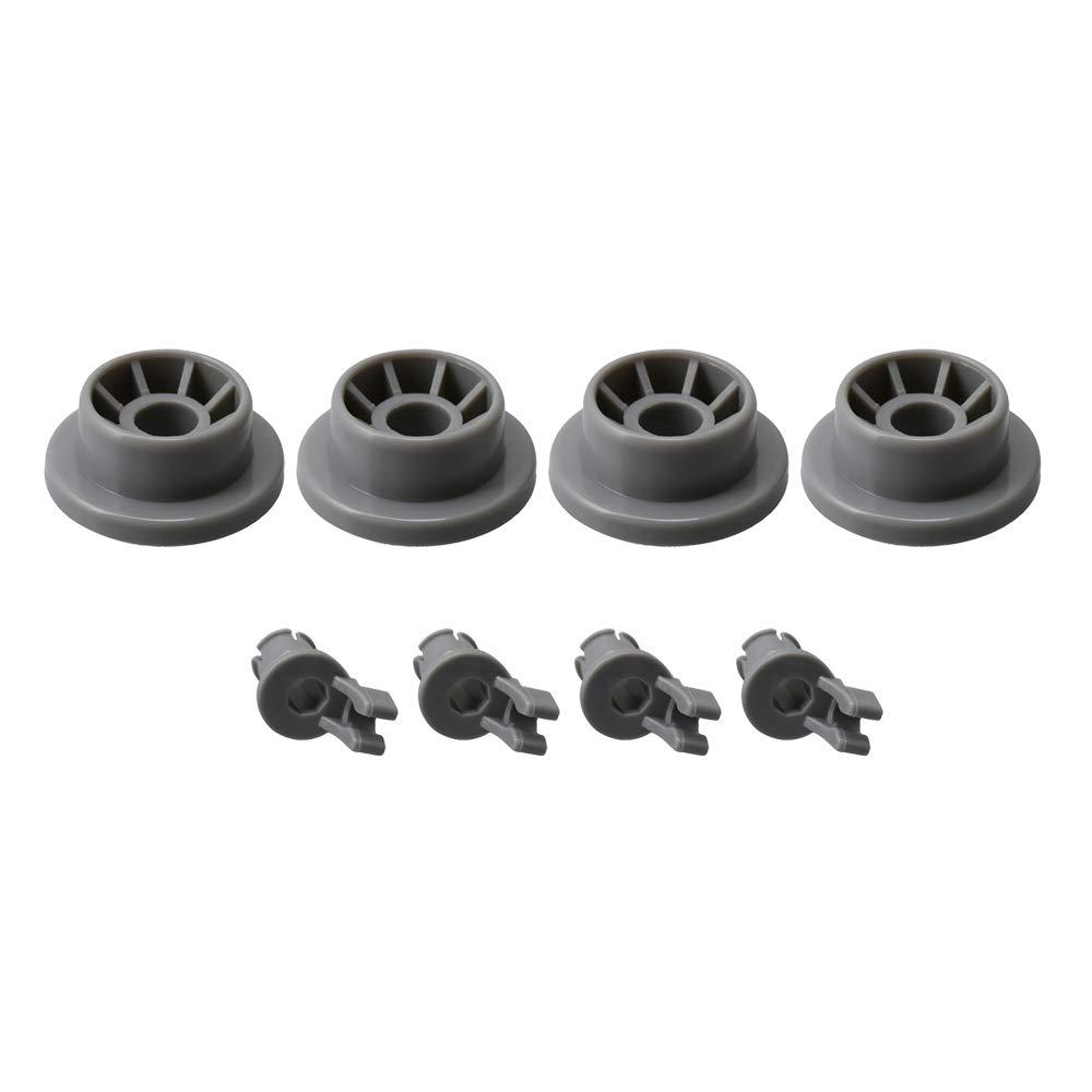 Yibuy 4PCS Gray Dishwasher Lower Dishrack Roller Wheels Set Replace 165314