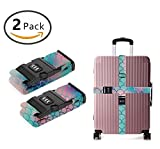 YEAHSPACE TSA Travel Tags Accessories Luggage Strap 2-Pc Magic Mermaid Fish Scales With 3 Digit Lock Adjustable Suitcase Belt