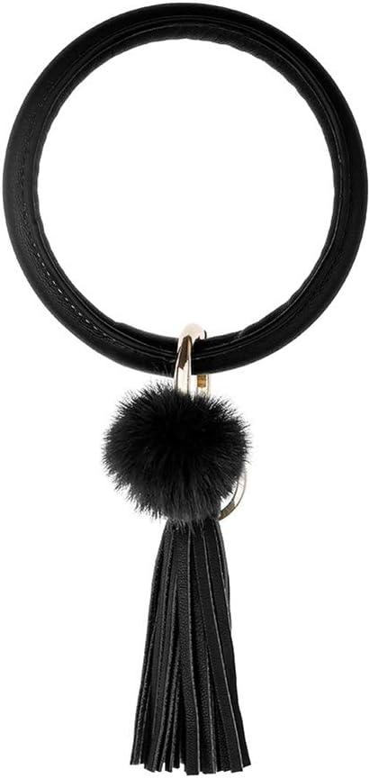 HongHong Keychain Bracelet Pompom Large Circle Bangle Keyring Faux Leather Tassel Wristlet for Women Girl Key Holder Green