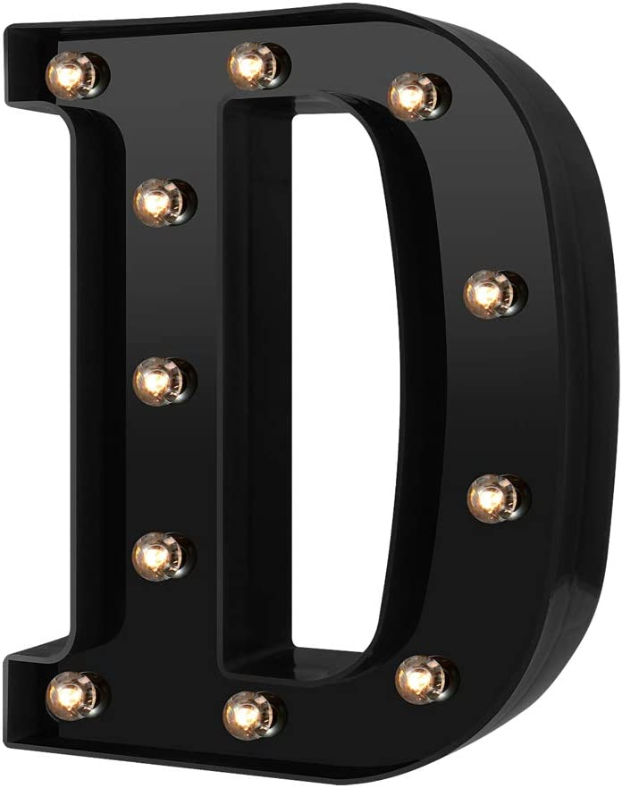 Newly Design Led Letters Numbers Lights 26 Alphabet & Arabic Numerals 0-9 Black Decorative Marquee Lamps for Events Wedding Party Birthday Home Bar (Cool Black D)