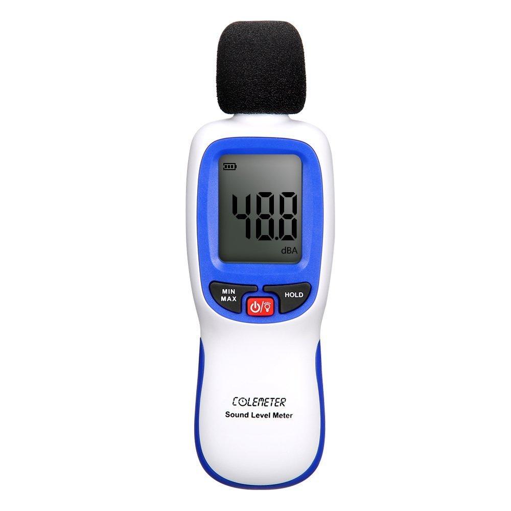 Sound Meter, COLEMETER Decibel Meter Digital Noise Meter Tester Range 30-130dB(A) with LCD Display(Batteries included)