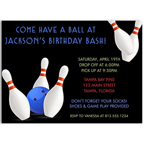Bowling, Birthday Party, Invitations, Boys, Blue, White, Black, Ball, Pins, Bowl, Strike, 10 Printed Cards with Envelopes, Bowling Ball Invitations
