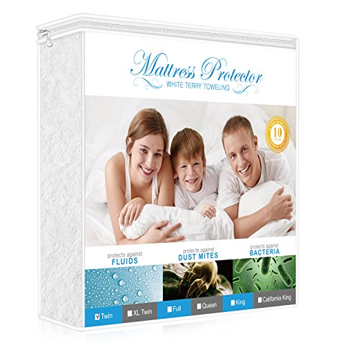 Premium Twin Mattress Protector, 100% Waterproof Hypoallergenic Mattress Cover with Cotton Terry Surface, Breathable, Vinyl Free, 10 Year Warranty Offered by Lighting - Mall Premium