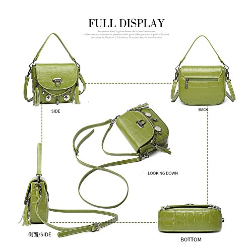 Shoulder Bags Women Crocodile Handbags with for Tassel Punk Cowhide White Pattern Girls Yoome for Mini Bags Style xwE6g