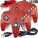 2 Pack iNNEXT Classic Retro N64 Bit USB Wired Controller for Windows PC MAC Linux Raspberry Pi 3 (Red)