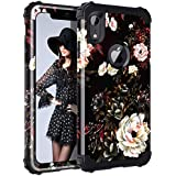 "Lontect Compatible iPhone Xr 2018 Case Floral 3 in 1 Heavy Duty Hybrid Sturdy Armor High Impact Shockproof Protective Cover Case Apple iPhone Xr 6.1"" Display, Flower/Black"