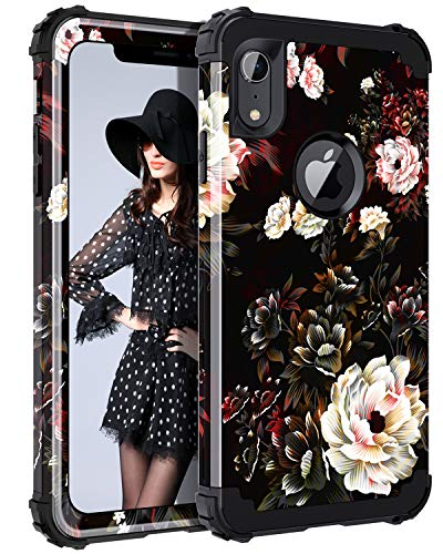 LONTECT Compatible iPhone Xr 2018 Case Floral 3 in 1 Heavy Duty Hybrid Sturdy Armor High Impact Shockproof Protective Cover Case for Apple iPhone Xr 6.1 Display, Flower/Black