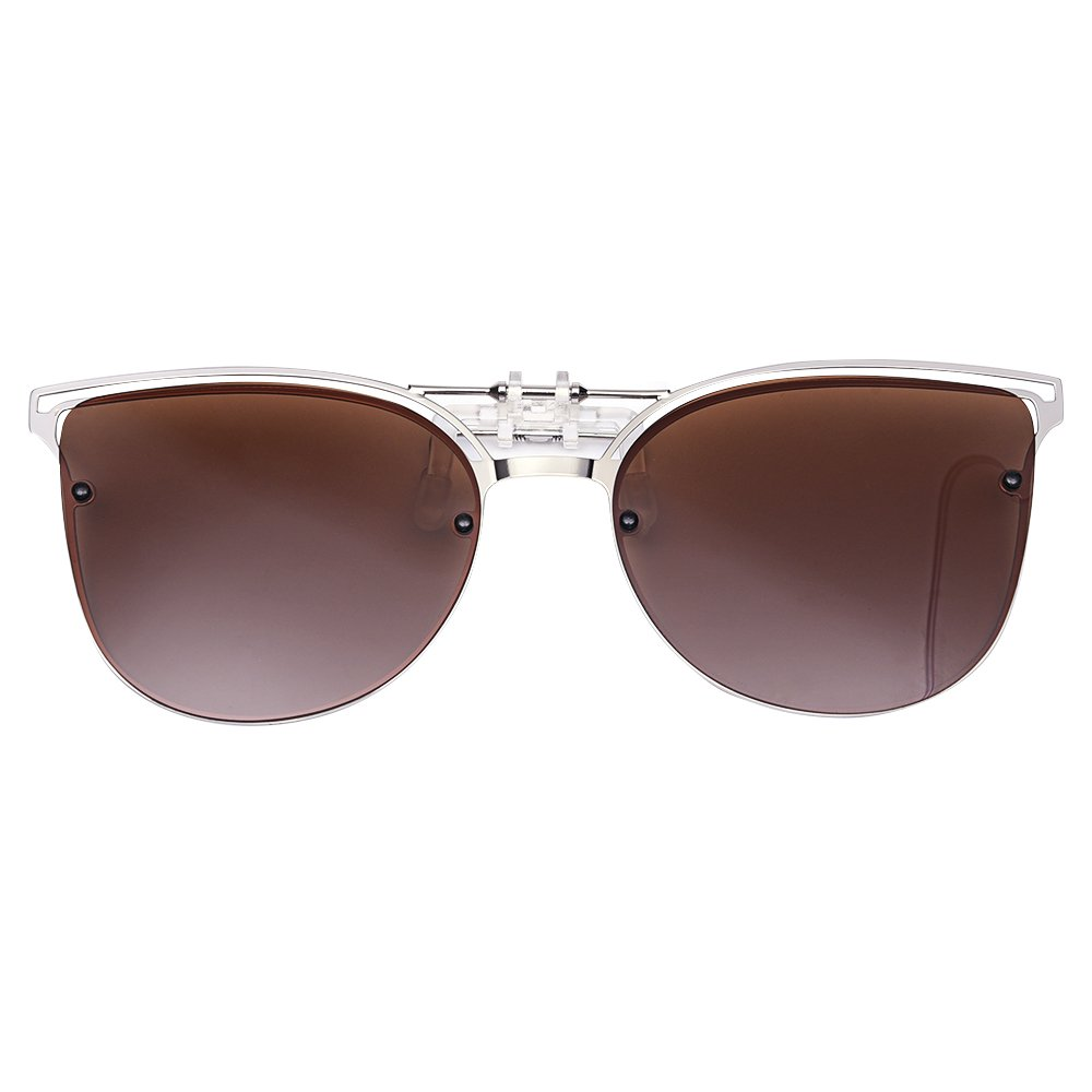 LUFF Polarized Women Clip-On Driving Sunglasses With Flip Up Function-Suitable, Vintage Cat Eye Outdoor Sunglasses for Ladies(Brown)