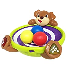 BRIGHT STARTS HAVING A BALL Spin and Giggle Puppy, Blue/Red/Yellow/Green White/Brown