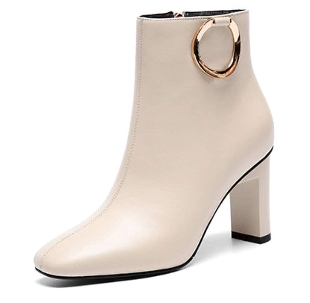 White Shiney Women's Plus Velvet Warm Booties Female Chunky Heel Side Zipper Low Boots High Heeled