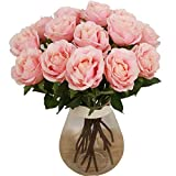 Bringsine Artificial Flowers, Silk Flowers Artificial Rose Flowers Home Decorations for Bridal Wedding Bouquet, Birthday Flowers Bunch Hotel Party Garden Floral Decor Pink