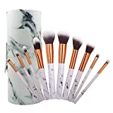 AprFairy 10pcs Marble Pattern Makeup Brushes with Brush Bucket Set Professional Synthetic Kabuki Make Up Kit Foundation Blending Blush Eyeliner Face Beauty Tools