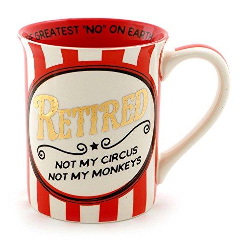 "Retirement Coffee (American Lighting 6000538 Our Name is Mud ""Retired Circus"" Stoneware Coffee Mug, 16 oz, Blue)"