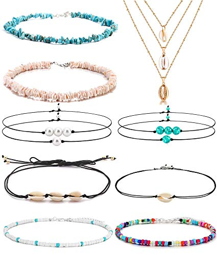 FUTTMI 11 Pieces Shell Necklace Pearl Choker Handmade Boho Rainbow Seed Beads Choker Adjustable for Women Girls ()