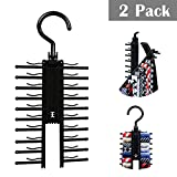 Bow Tie Rack Hanger Black Holder 2 Pcs 360 Degree Rotating Adjustable Organizer with Non-Slip Clips Choker Belt Scarf Necktie Cross Hanger Compact Closet Organizer for Closet , Securely Up To 20 Ties