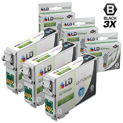 LD Remanufactured 3-pack of 126 / T126120 High Capacity Black Ink Cartridges: Workforce 840, 845, WF-3520, WF-3530, WF-7510, WF-7520 & (Epson Wf 520 Black)