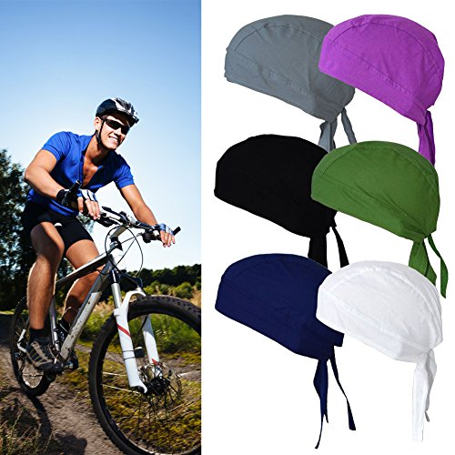 Rag Skull Cap Hat - Cotton Bandanas / Dew Rag / Skull Cap / Cycling Cap /Beanie /Adjustable Hat/Head Scarf /Chemo Caps / Fits under Helmets. Perfect for Running, Motorcycling,Biking, Football,Pack of 6