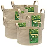 Cheap VIVOSUN 5-Pack 30 Gallons Heavy Duty Thickened Nonwoven Fabric Pots Grow Bags with Strap Handles Tan