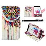 LG G3 Case, iYCK Premium PU Leather Flip Folio Carrying Magnetic Closure Protective Shell Wallet Case Cover for LG G3 with Kickstand Stand - Dream Catcher