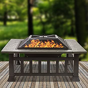 Sorbus Fire Pit Square Table With Screen Cover, Log Grate, Poker Tool, Great Bbq Grill For Outdoor Patio, Backyard, Garden, Camping, Picnic, Bonfire, Attractive Stone Slate (Fire Pit Square Table) 3