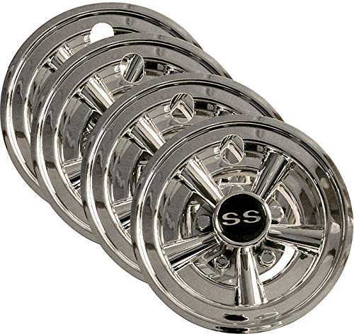 "Set (4) 8"" SS Chrome Wheel Covers for EZGO, Club Car and Yamaha Golf Carts"