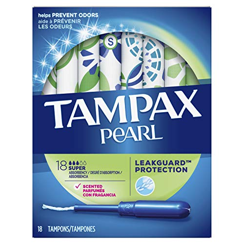 Tampax Pearl Plastic Tampons, Super Absorbency, Scented, 18 Count