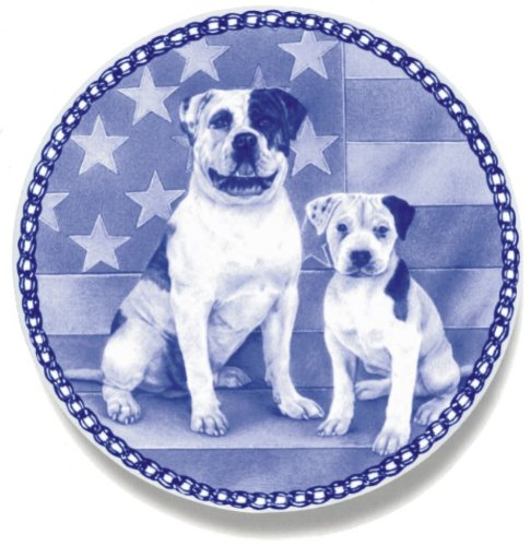 American Bulldog and Puppy: Danish Blue Porcelain Plate #3064