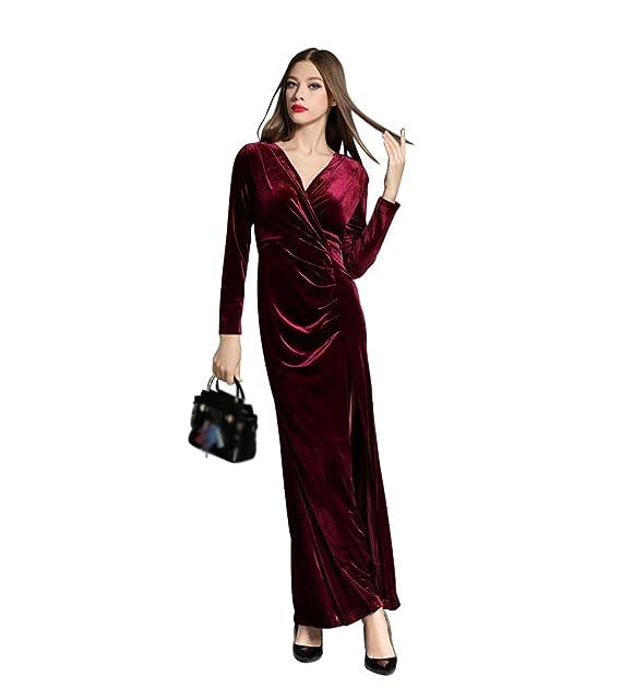 0c0d25c60743 ZKOO Donna Abiti in Velluto Slim Lunghi Vestiti Scollo a V Vestito Cocktail  Partito Elegante Abito
