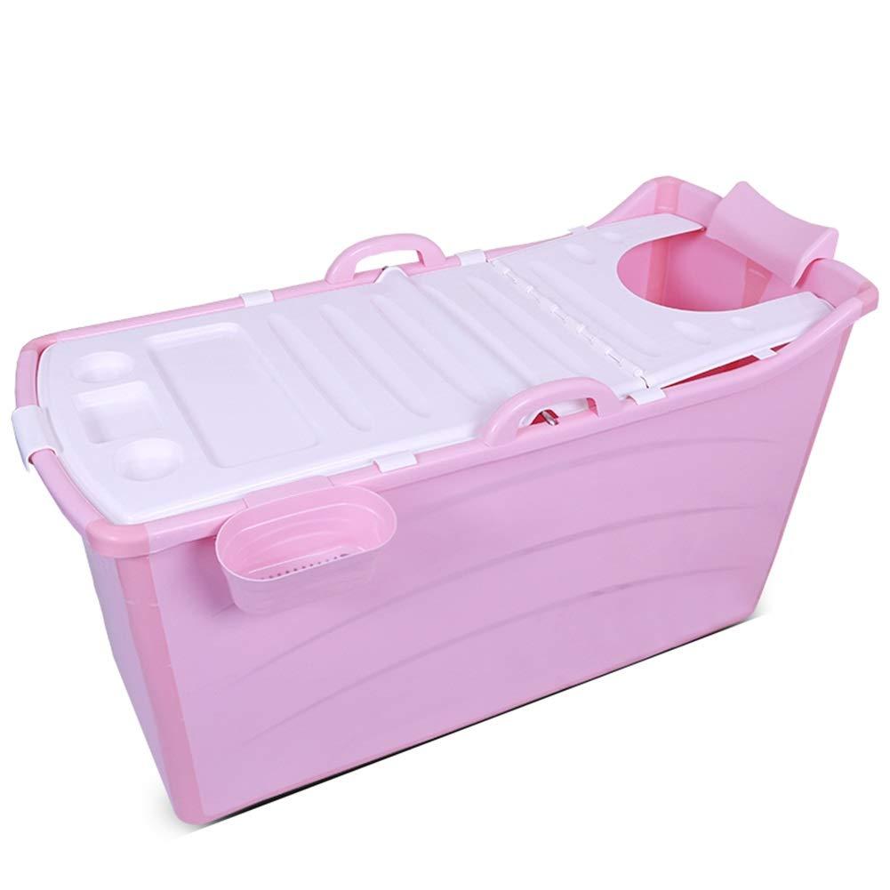 Folding Bathtub, Inflatable Bathtub, Portable Bathtub, Swimming Pool, Plastic Bathtub (Color : Pink1)