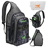 KastKing Pond Hopper Fishing Sling Tackle Storage Bag – Lightweight Sling Fishing Backpack - Sling Tool Bag for Fishing Hiking Hunting Camping, Without Box,17.7X 12.6X 6 Inches, Silver Mist