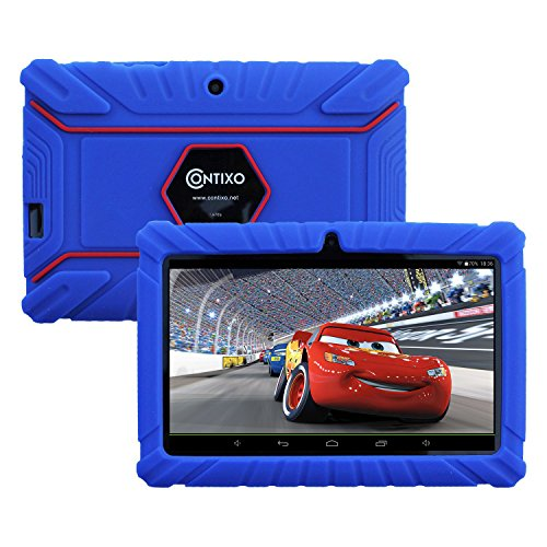 HOLIDAY SPECIAL! Contixo KiDOZ Kid Safe 7'' HD Tablet WiFi 8GB Bluetooth, Free Games, Kids-Place Parental Control W/ Kid-Proof Case (Dark Blue) - Best Gift For Christmas by Contixo